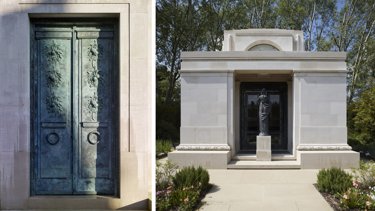 Hamilton's work is full of symbolism. Engraved pomegranates represent the resurrection (left) and an allegorical figure of remembrance turns her back on the living and looks inwards into a mausoleum (right) / (Image Credit: Paul Highnam)