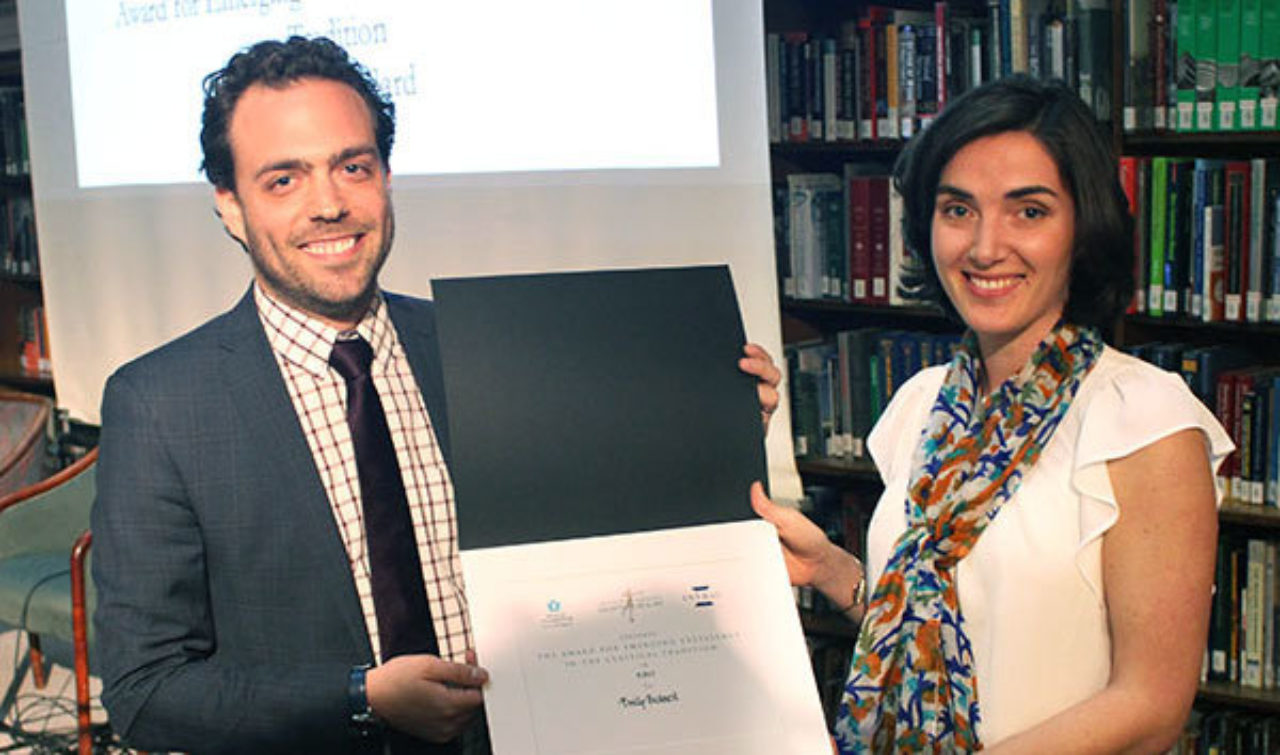 Emily Bedard, Award for Emerging Excellence in the Classical Tradition winner, accepts her award from Simon Sadinsky, Head of Education for PFBC, at a separate ceremony on April 30th