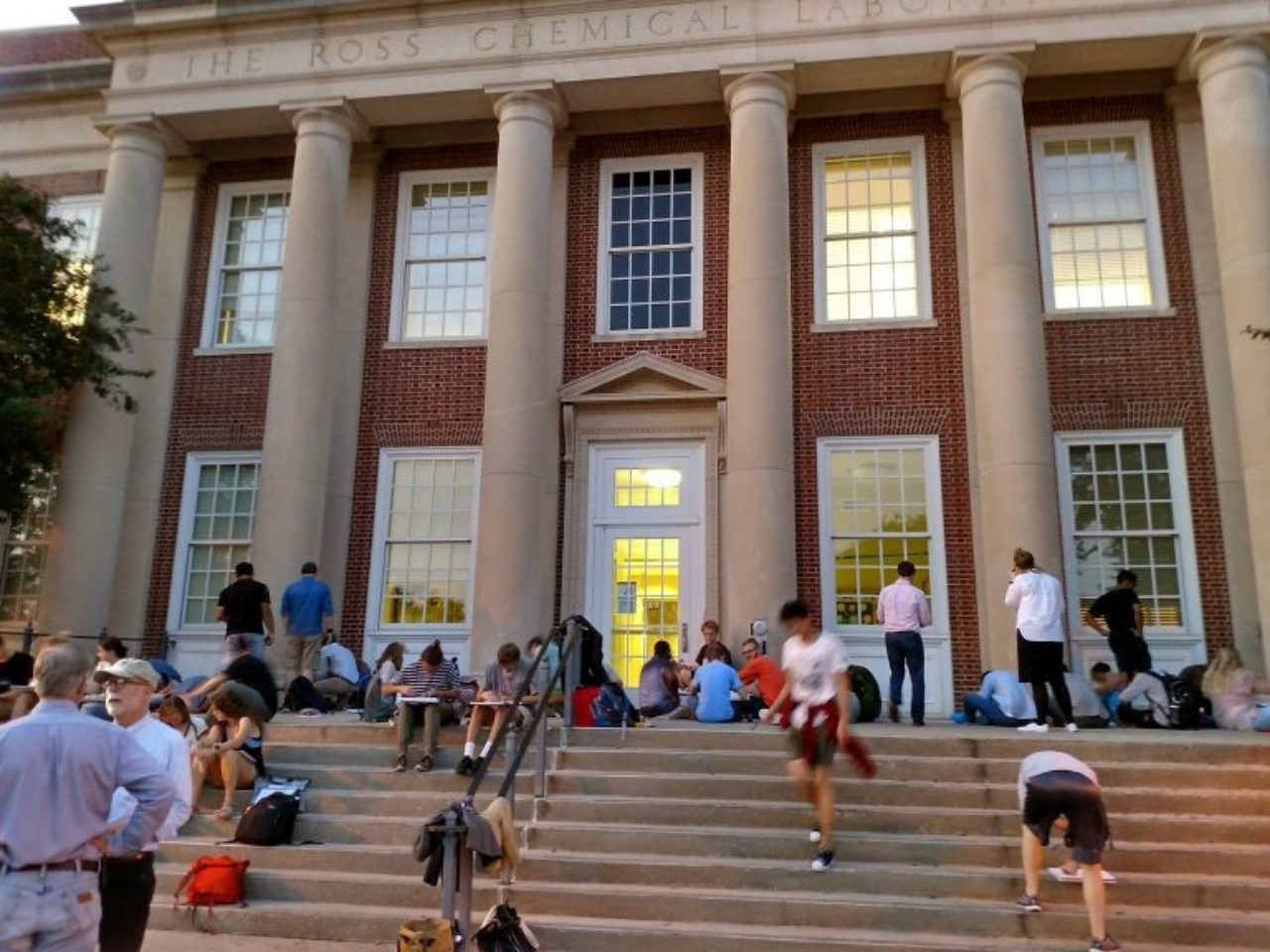 Students drawing architectural details of Ross Hall
