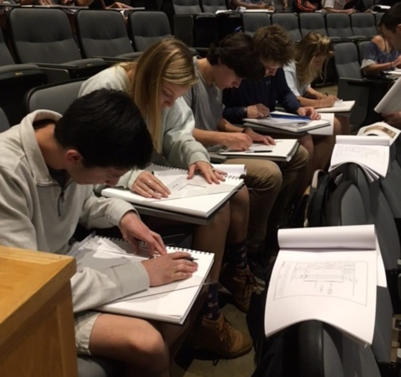 Students working on their drawings in a breakout session