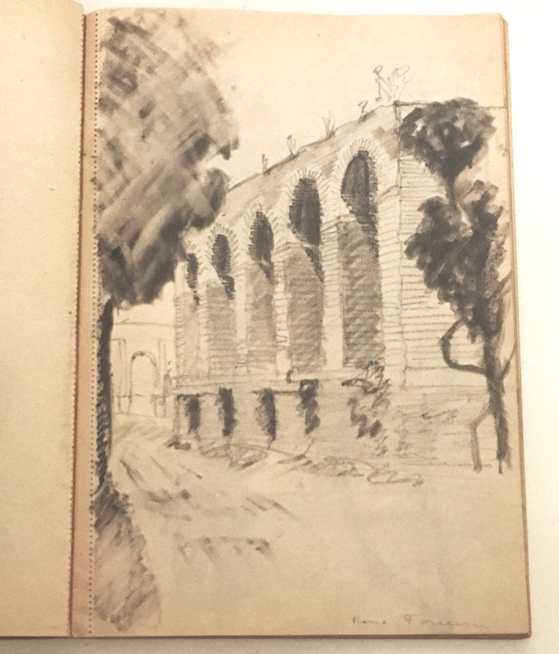 A sketch by Aino Marsio of the Forum in Rome, 1921