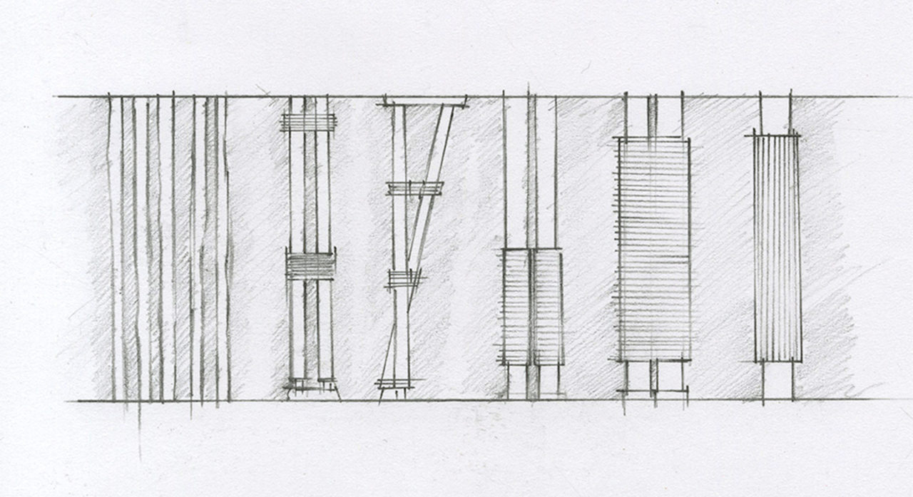 A quick study of post articulation at the Villa Mairea, by the author.