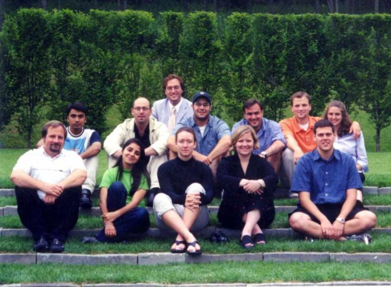 Fellow William Bates in the top row poses with students from the 2001 Summer Program students. Fellow Emeritus Gil Schafer is in the second row, third from right.