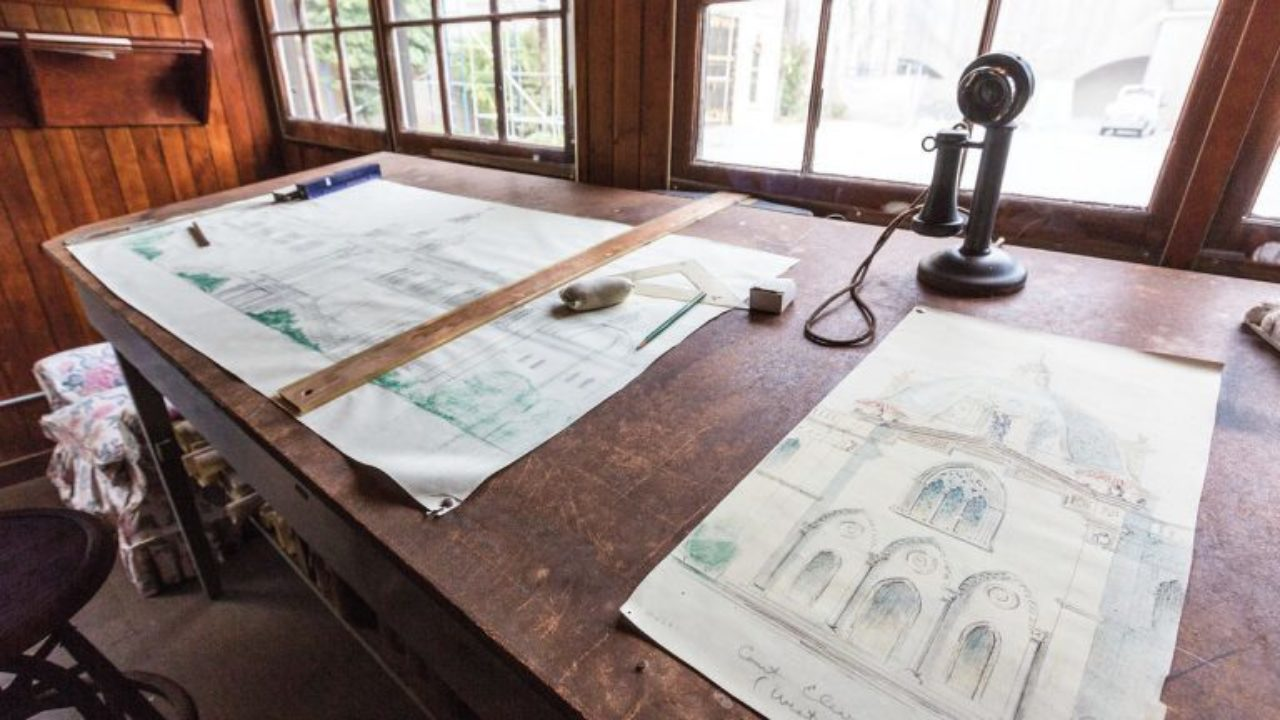 Julia Morgan's office at Hearst Castle with some of her drawings