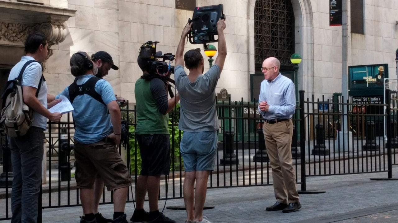 Francis Morrone filming 'Classical City Guide: New York City'