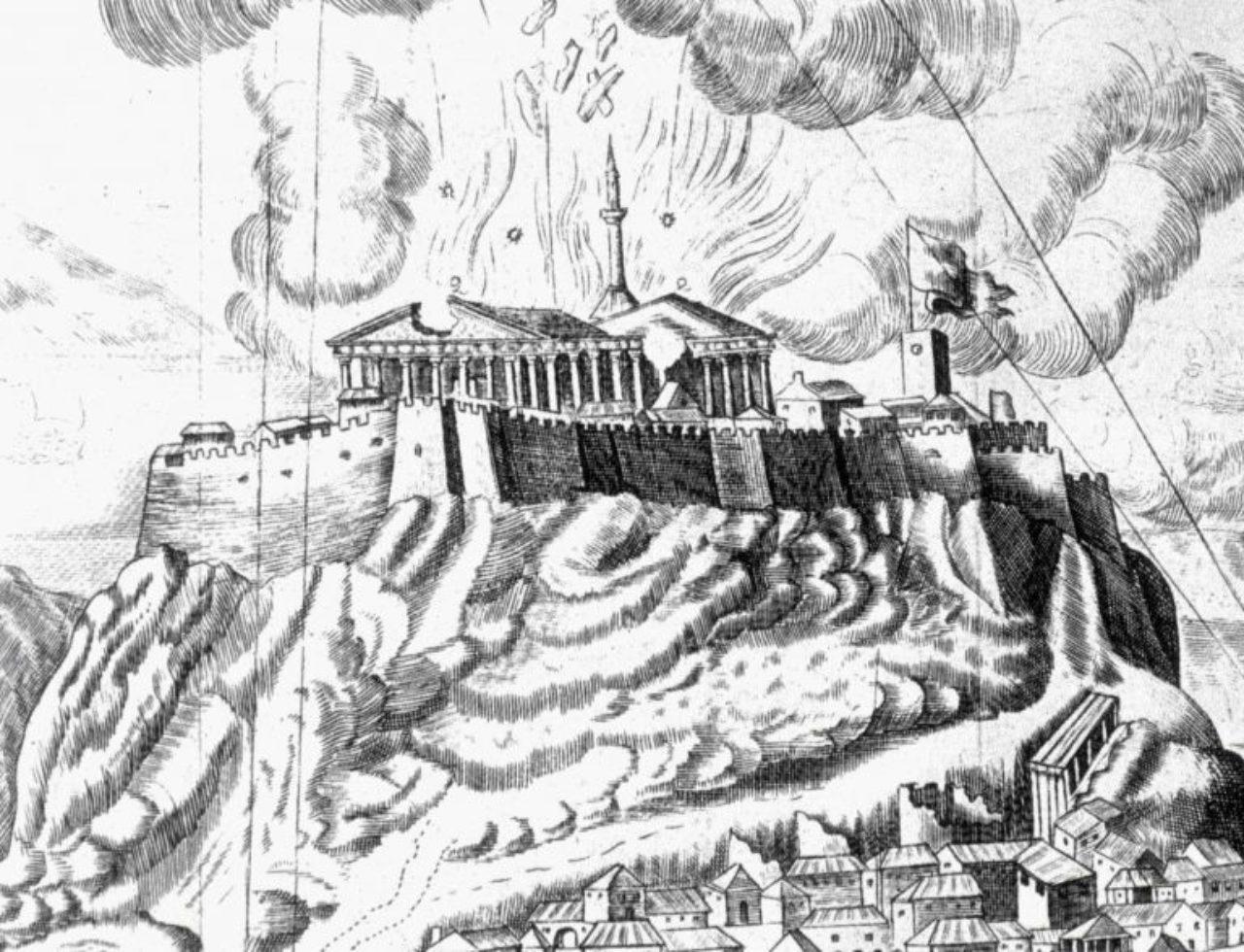 Figure 1: Parthenon, 1687 bombardment. (Atene Attica-, Francesco Fanelli; 1701)