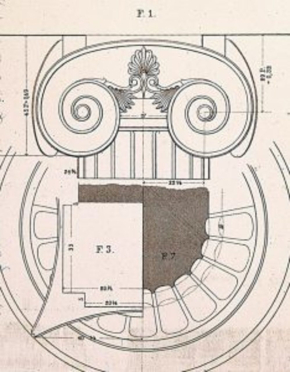 Figure 20: Temple of Apollo Epicurius, Ionic capital detail (von Mauch & Normand, Parallel of the Classical Orders of Architecture, Acanthus Press reprint, 1998, plate 33)