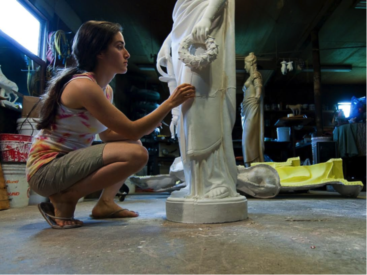 Young Members Task Force participant Emily Bedard, who won a 2015 Stanford White Award in the Craftsmanship and Artisanship category for Statue of Liberty for Seaside Monument