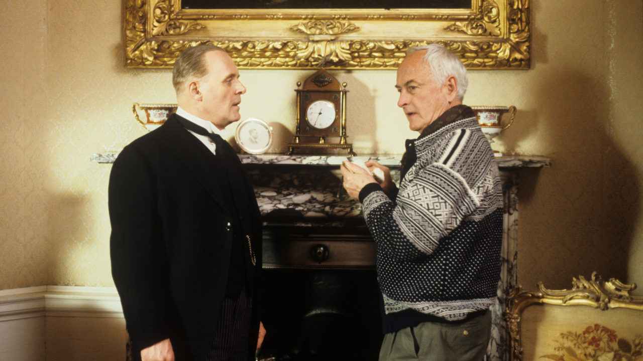 James Ivory with Sir Anthony Hopkins on the set of 'Remains of the Day'