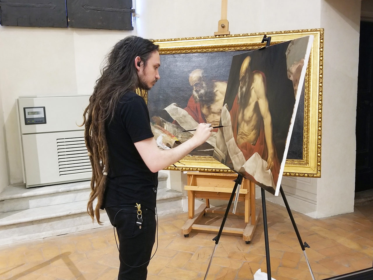 Brogie making a copy of a Hendrick van Somer painting at the Palazzo Barberini