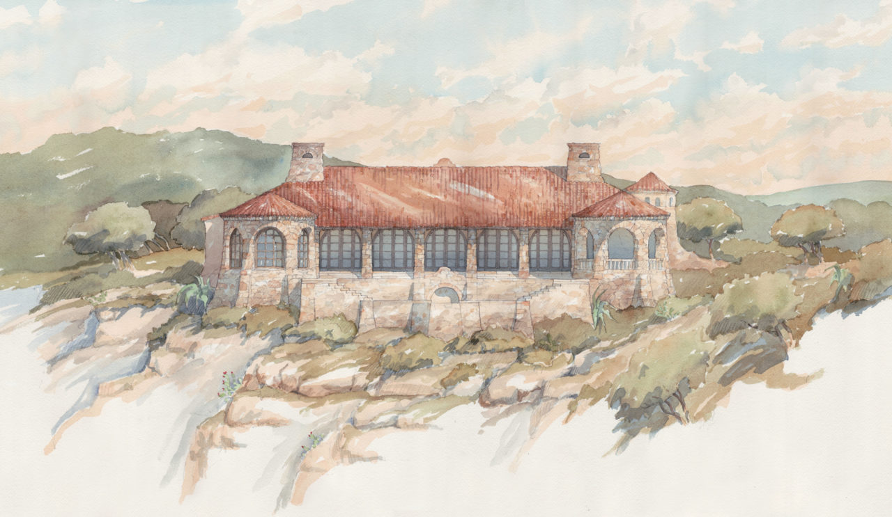 Schematic Design for West Texas ranch house on the side of a river canyon