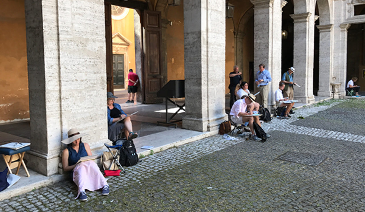 Tour participants sketch on location at the Church of Sant'Ivo alla Sapienza