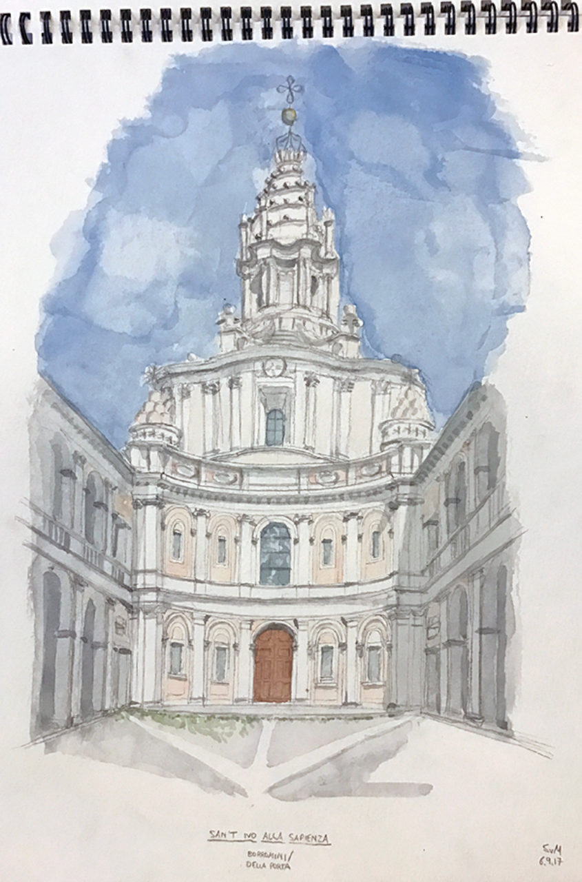 Tour participant Sebastian von Marschall's sketch of the Church of Sant'Ivo alla Sapienza