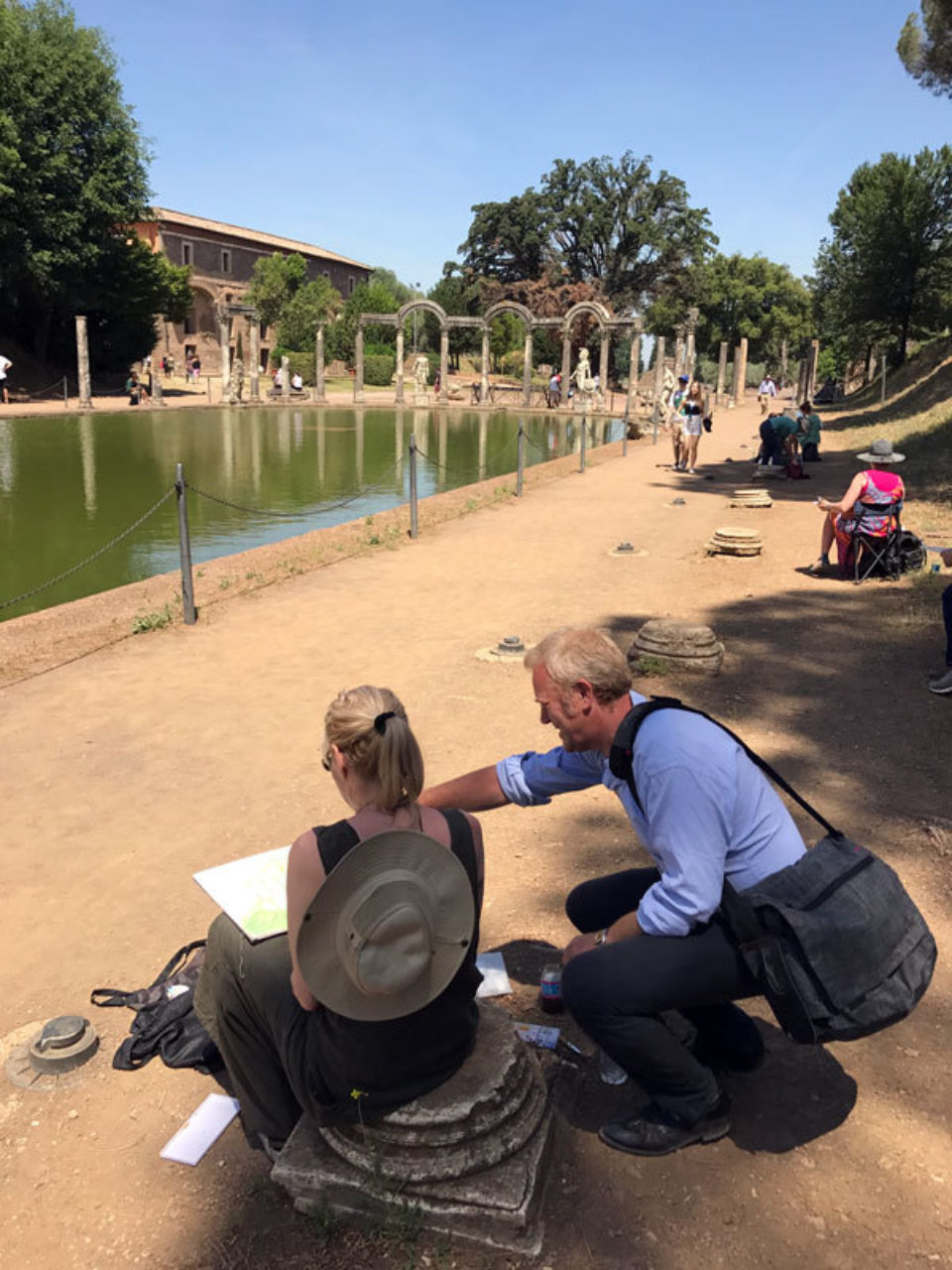 Tour participants sketch on location at the Villa Adriana