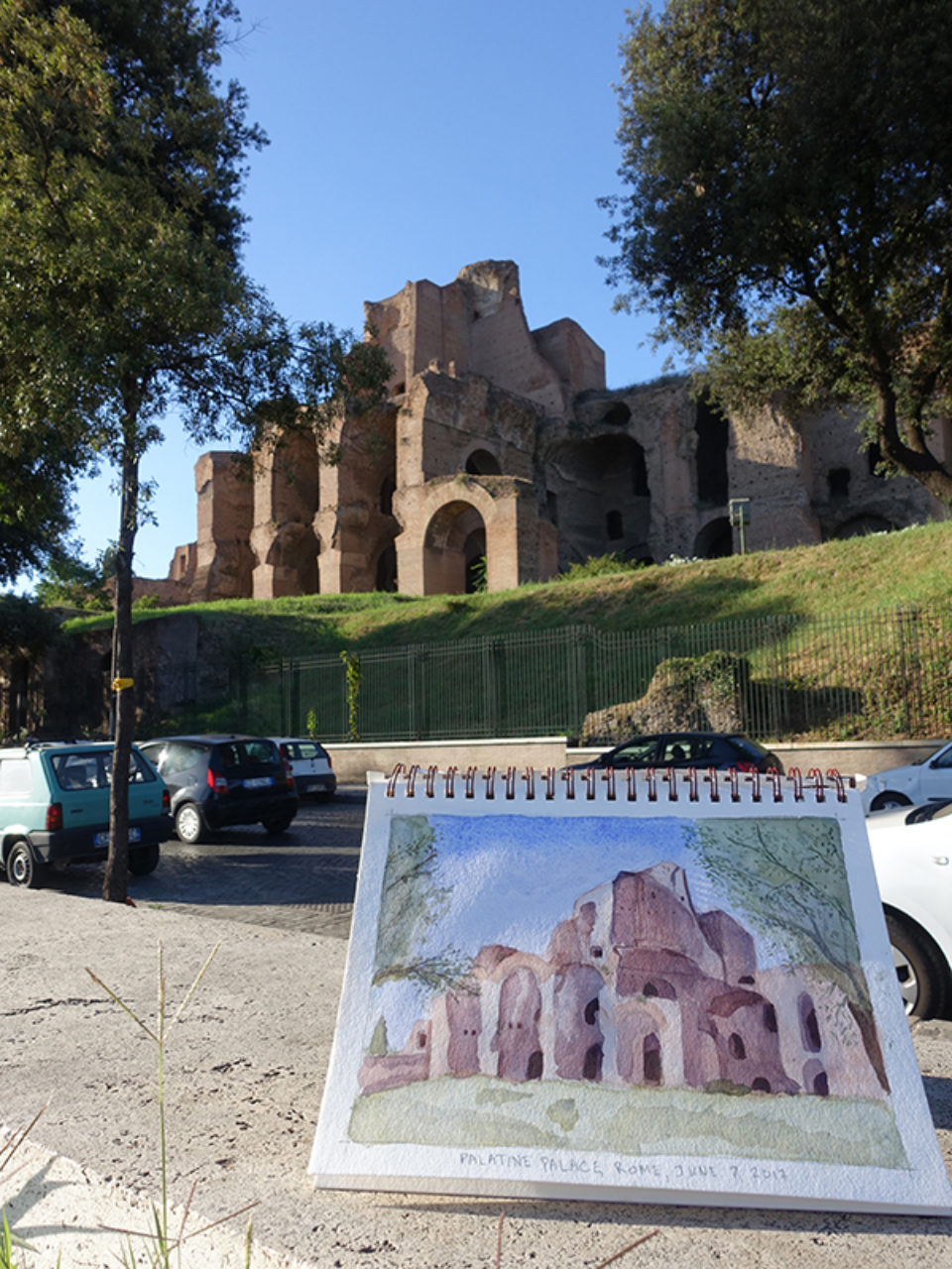 Tour participant Sasha Pokrovskaya's watercolor sketch of the Palatine Palace