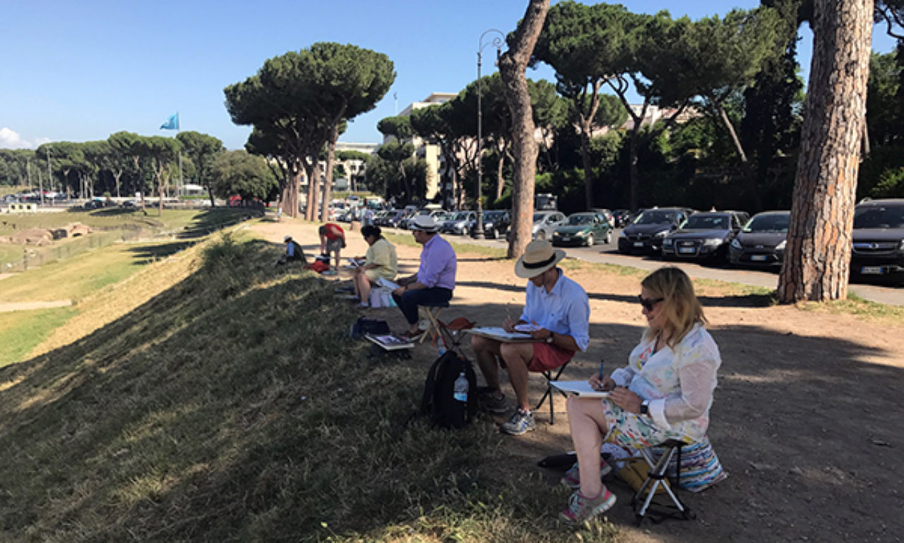 Tour participants sketch on location at Circus Maximus