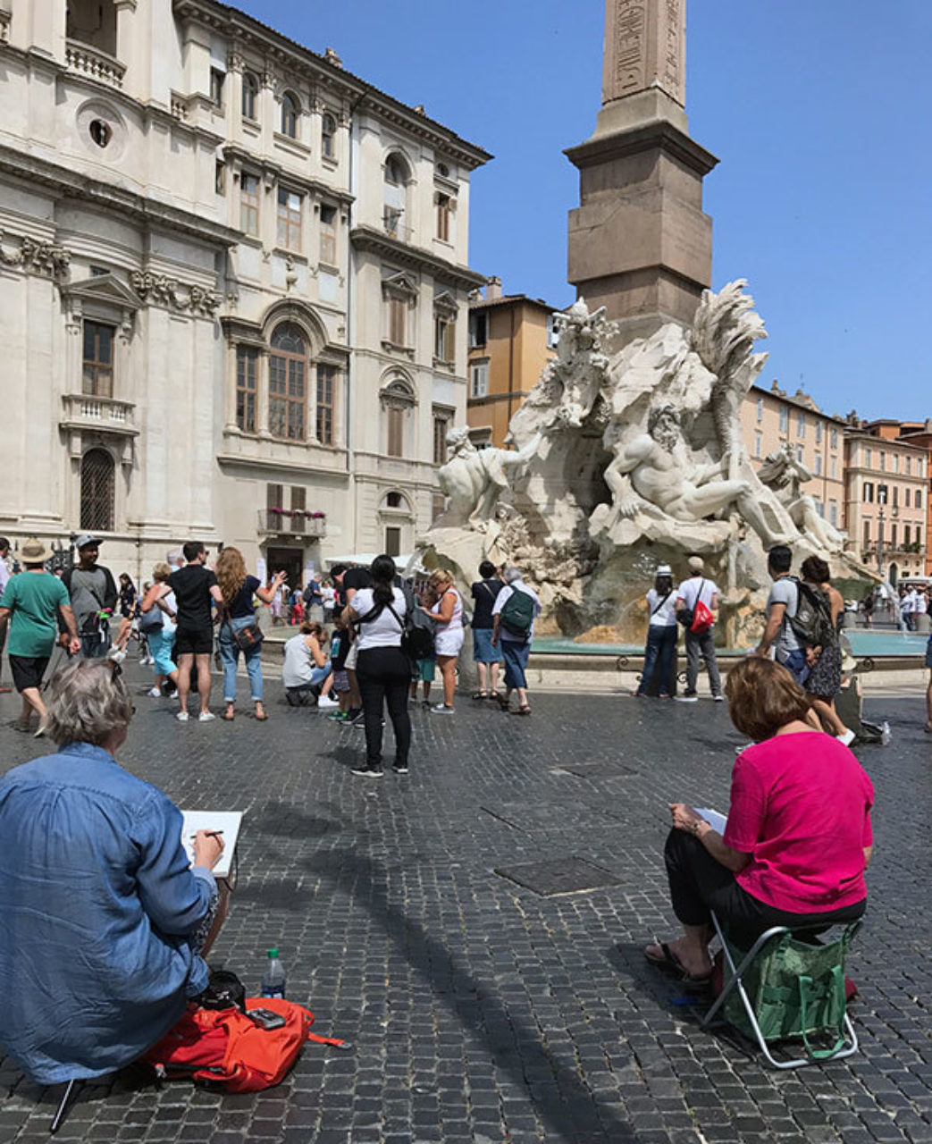 Christopher H. Browne Rome Drawing Tour participants sketching at Piazza Navona