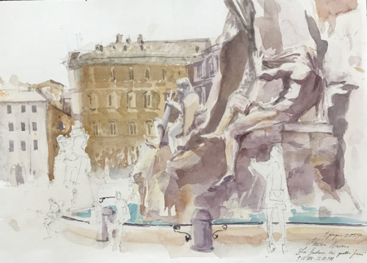 Elena Belova's watercolor sketch from Piazza Navona