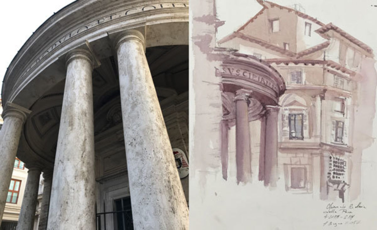 Elena Belova's watercolor sketch from the church of Santa Maria della Pace