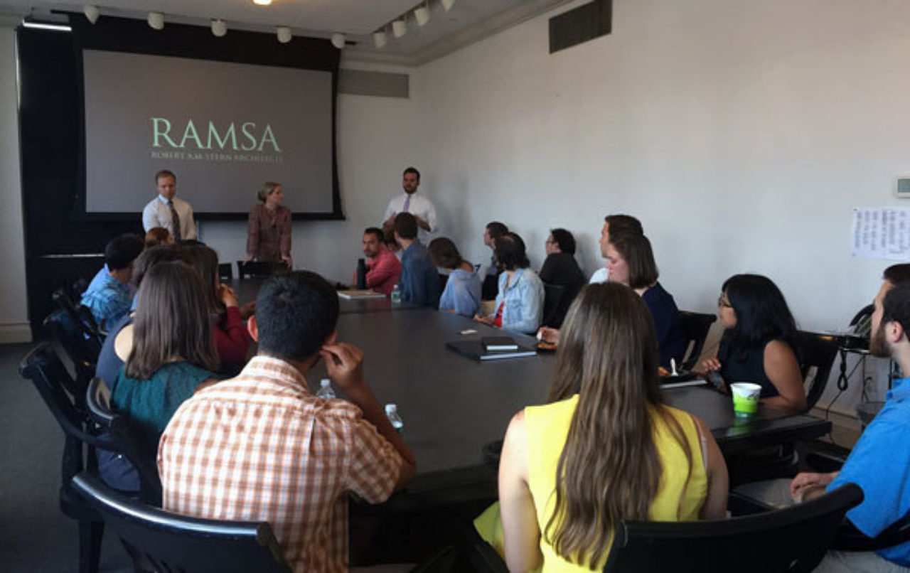 Students tour the offices of Robert A.M. Stern Architects