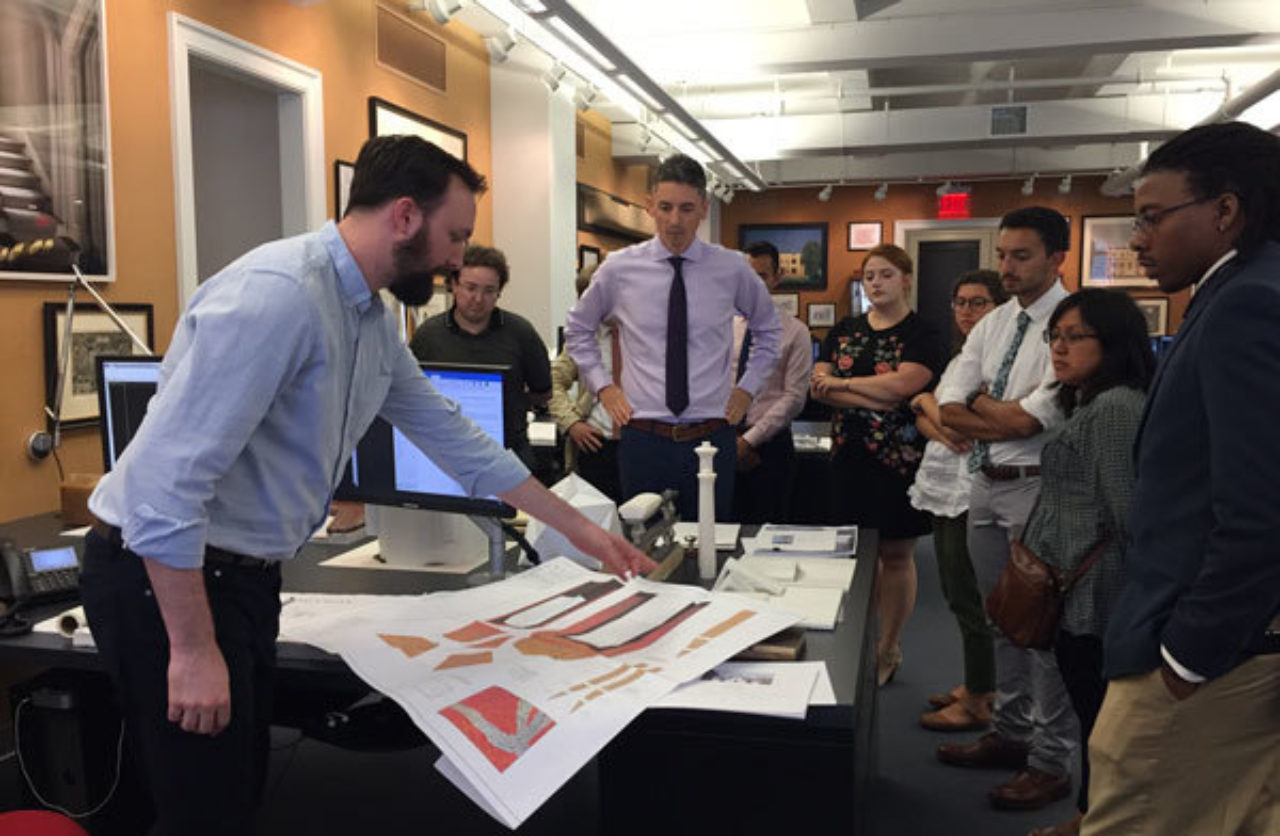 Students tour the offices of Peter Pennoyer Architects