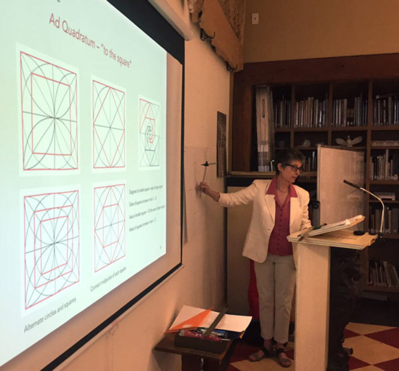 Geometer Rachel Fletcher gives students a lesson on the principles of proportion