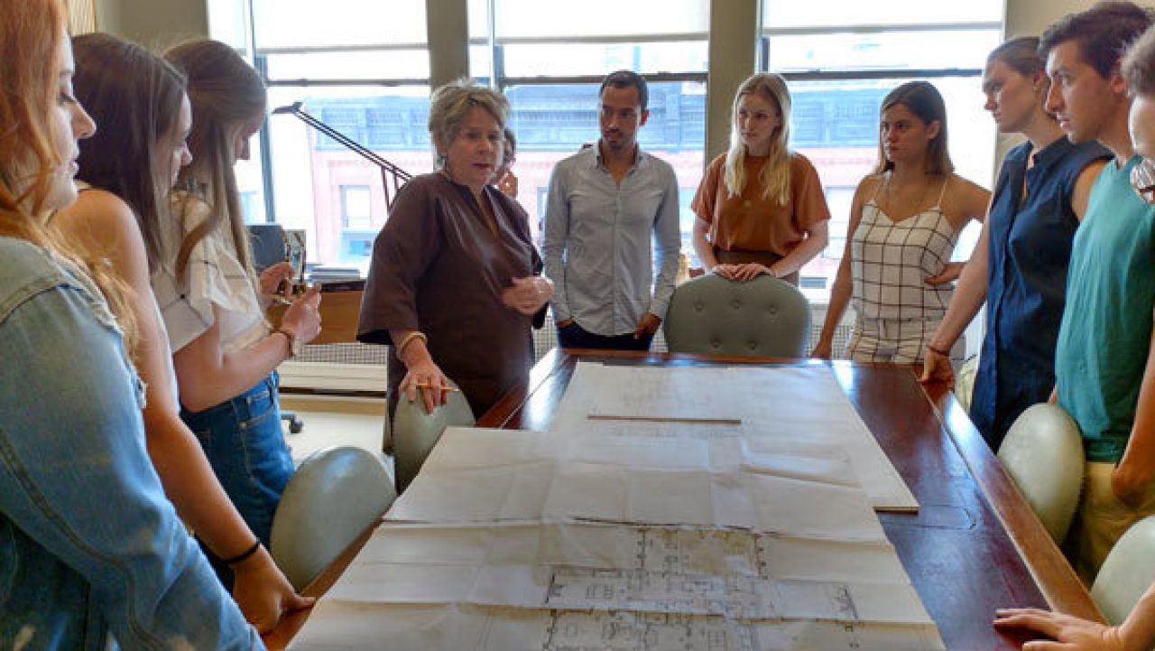 Interior designer Bunny Williams gives students a tour of her practice