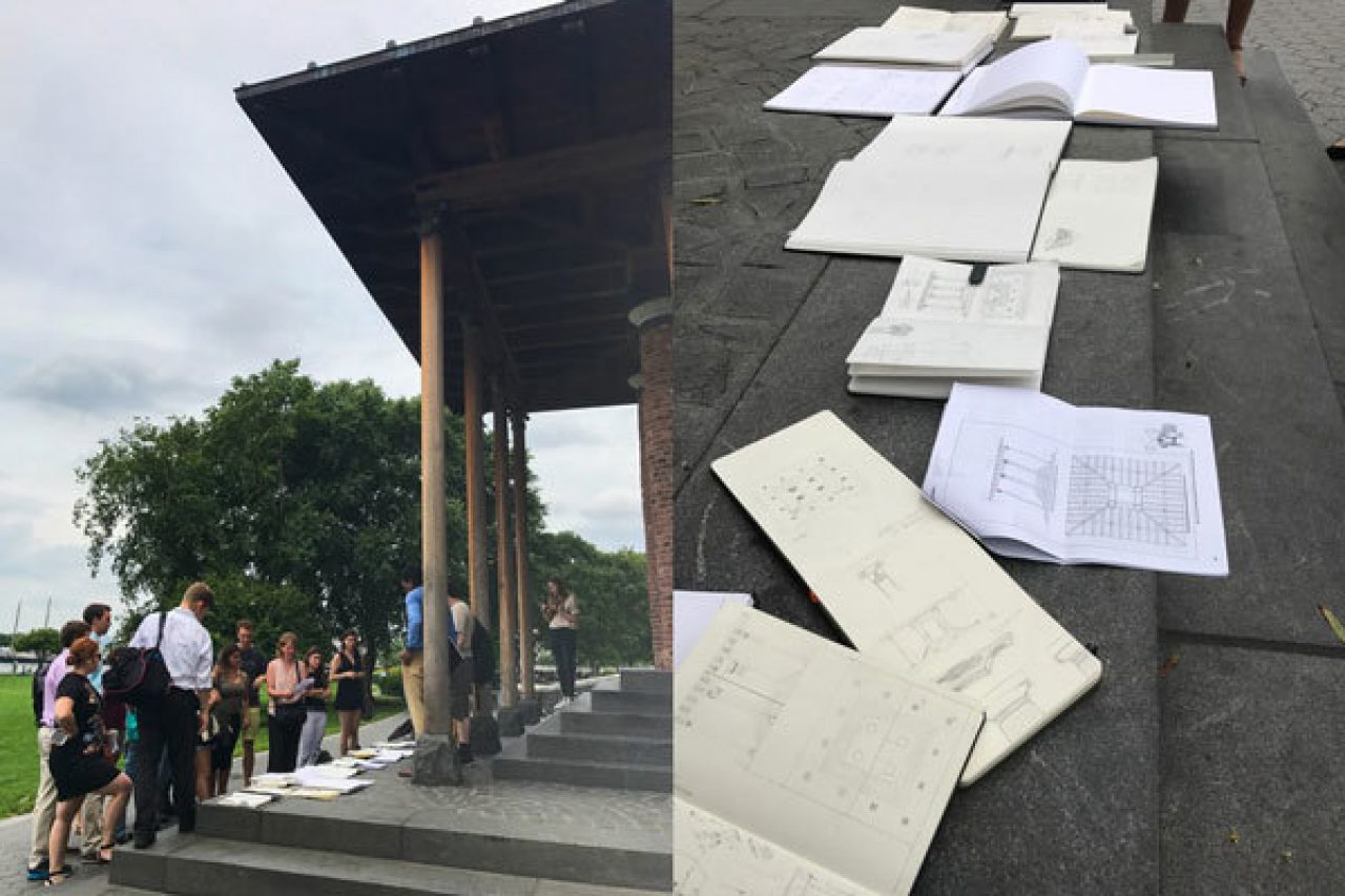 Students compare their measured drawings of the Battery Park City Pavilion
