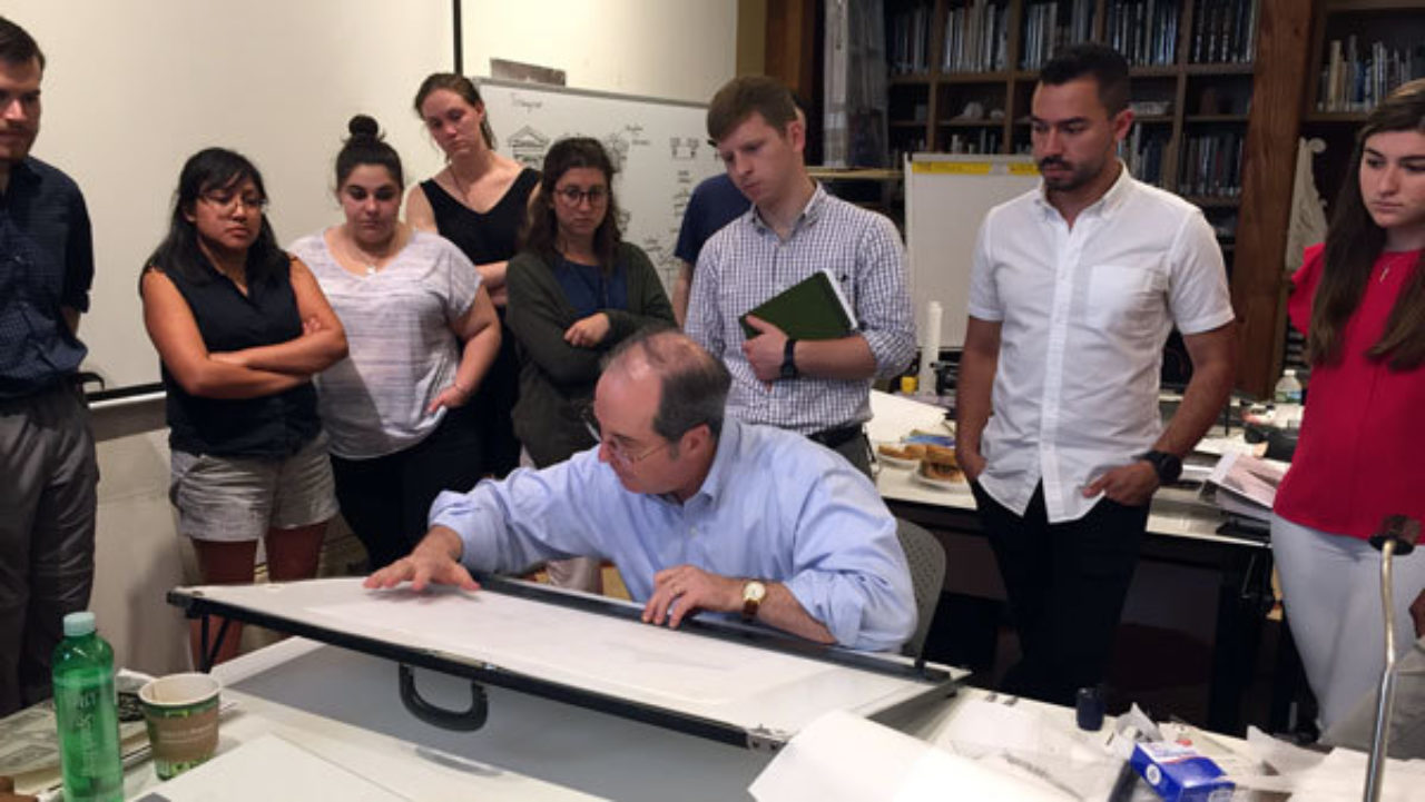 Professor Richard Economakis shows students how to develop their own designs