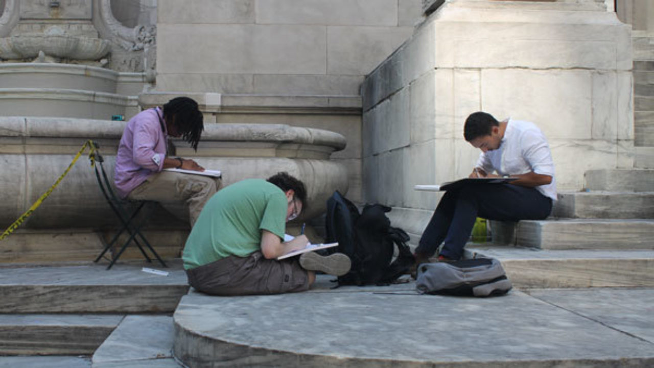 Students sketch building details at the New York Public Library