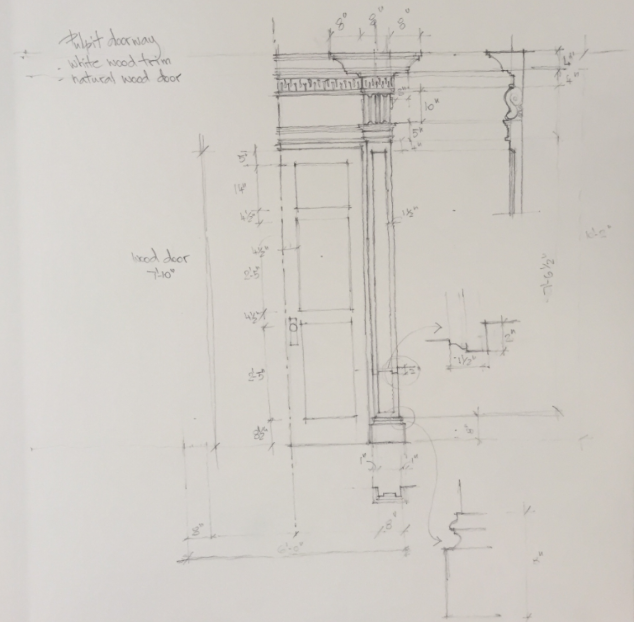 A measured drawing completed by a workshop student