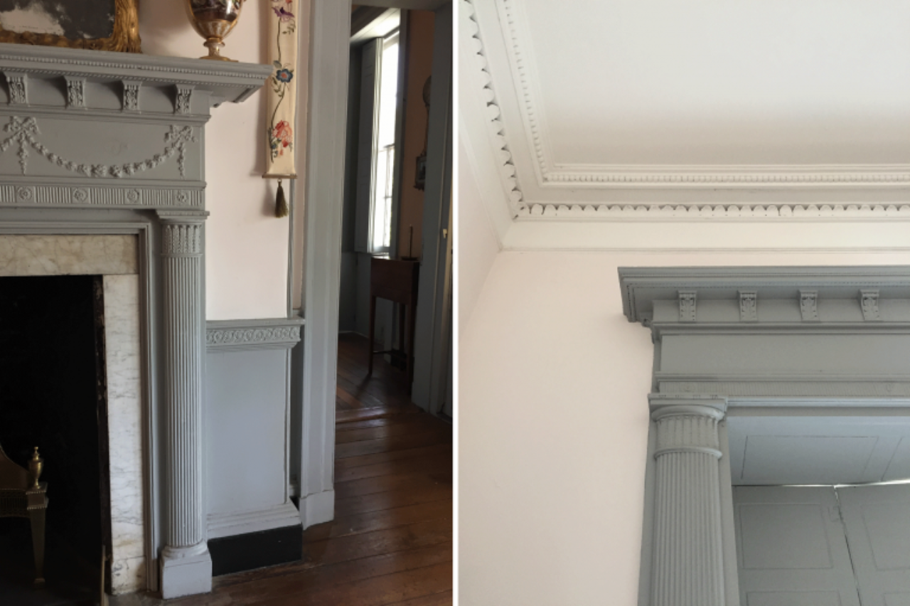 The engaged, elliptical columns and much of the ornament of the fireplace mantel is mirrored in the adjacent door surround in the Card Room on the second floor (Image: von Marschall)