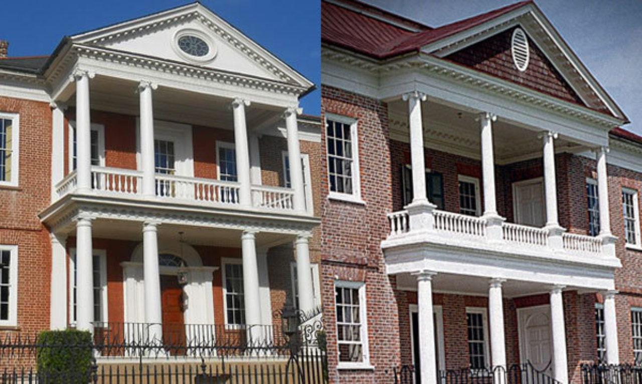 Miles Brewton House (Image: Wikipedia) and Drayton Hall (Image: Loth).