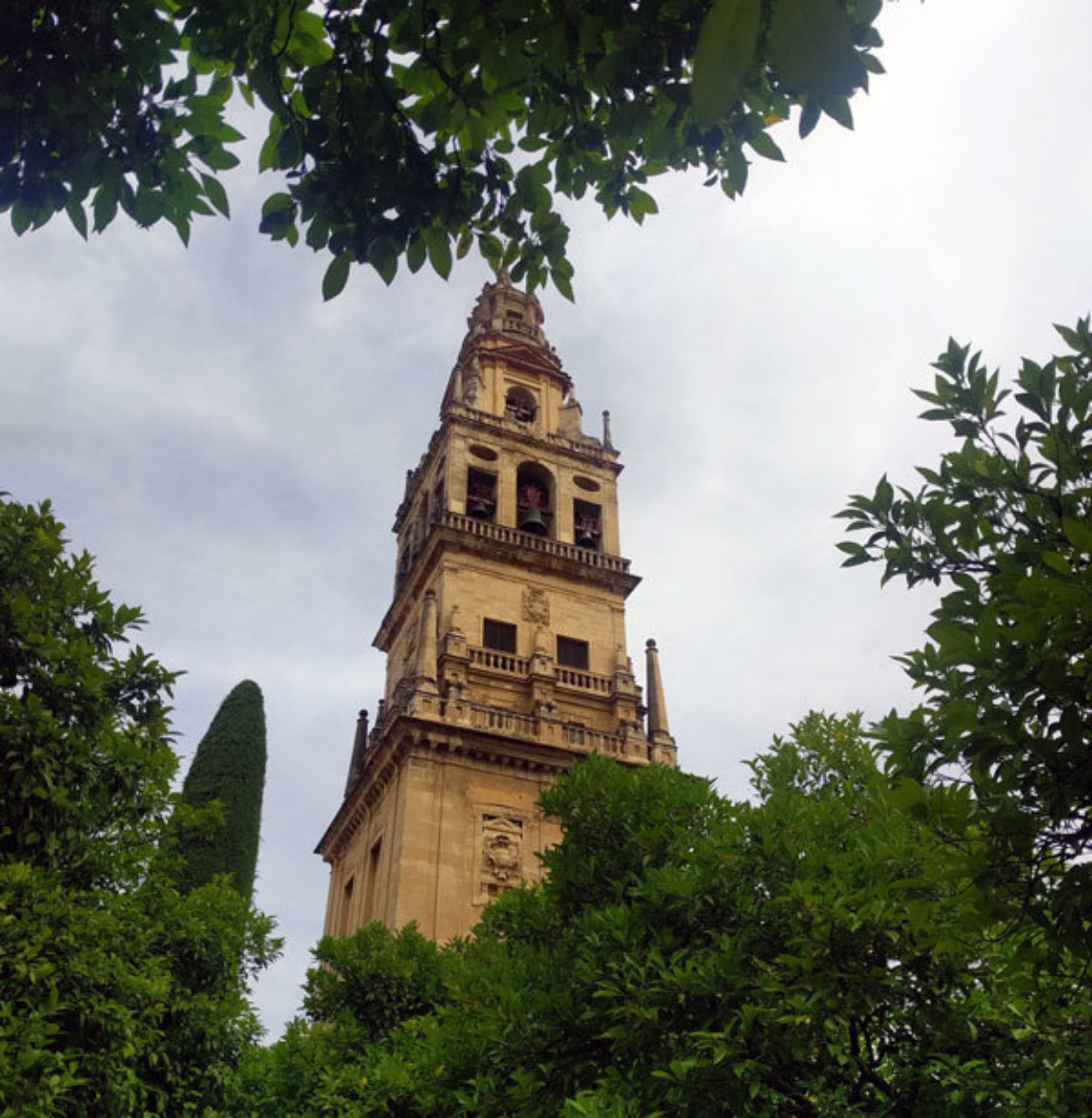 The bell tower at La Mezquita de Córdoba, Spain, which was previously a minaret