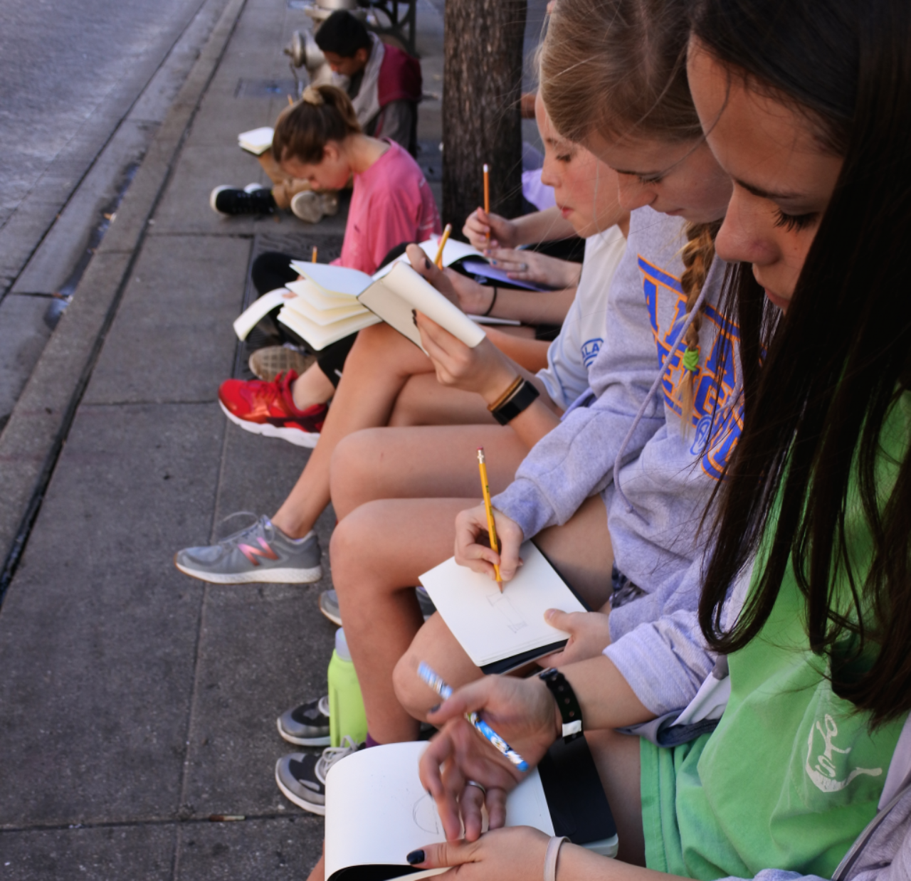 Alamo Heights Junior School students sketching outside