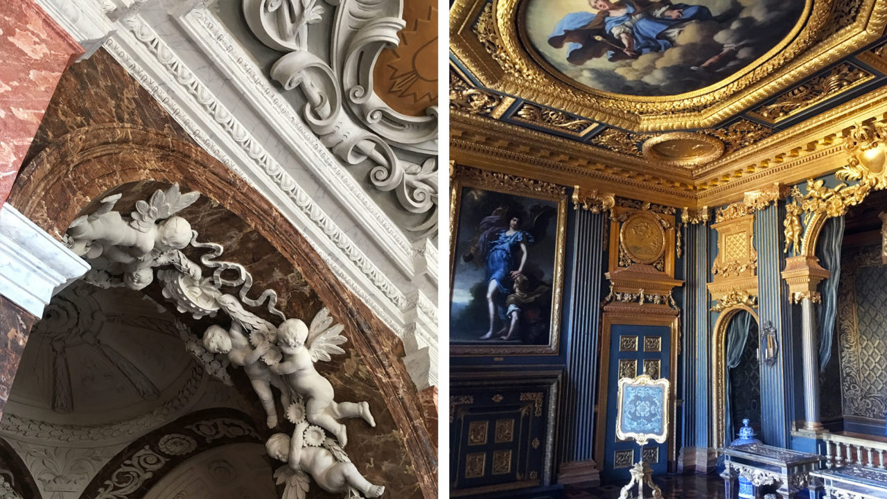 Two interiors from Drottningholm Palace - detail from a decorative staircase (left) and the state bedchamber (right)