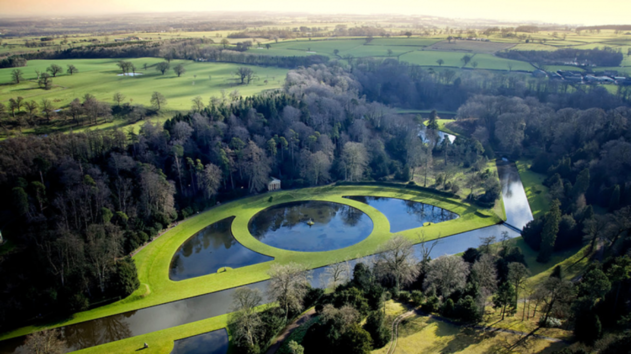 Aerial view of Studley Royal park's geometric water features (Image Source: Pinterest)