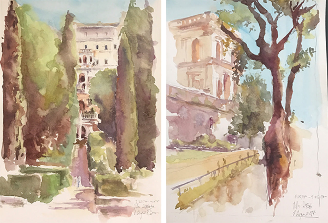 Watercolor sketches of Villa d'Este by Christopher H. Browne Rome Drawing Tour student Elena Belova