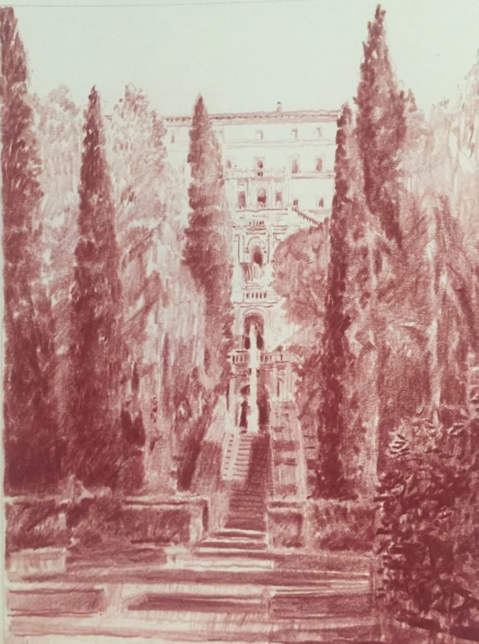 Sanguine drawing of Villa d'Este by Christopher H. Browne Rome Drawing Tour student Martin Burns