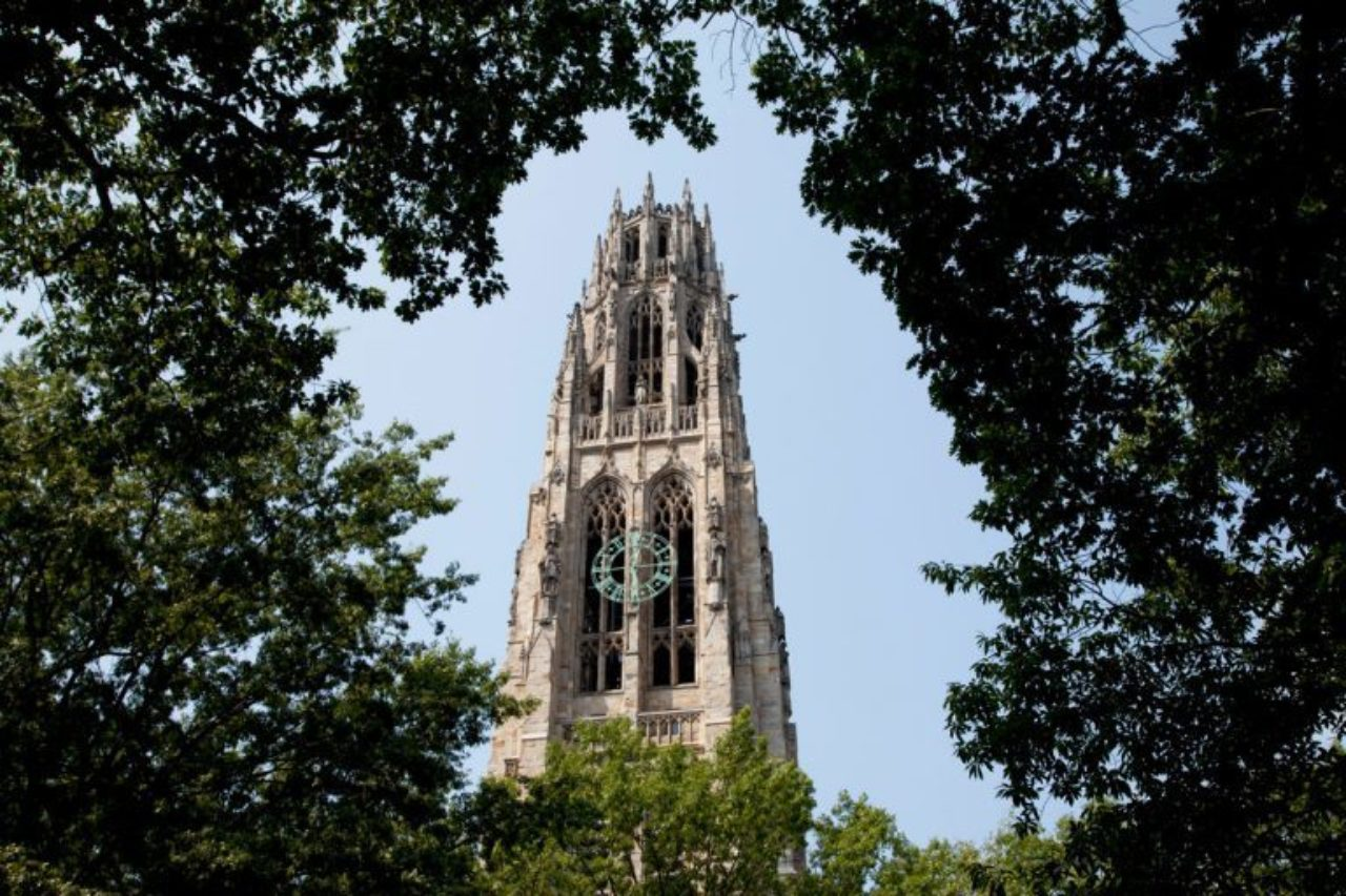 Yale's iconic Harkness Tower, designed by architect James Gamble Rogers