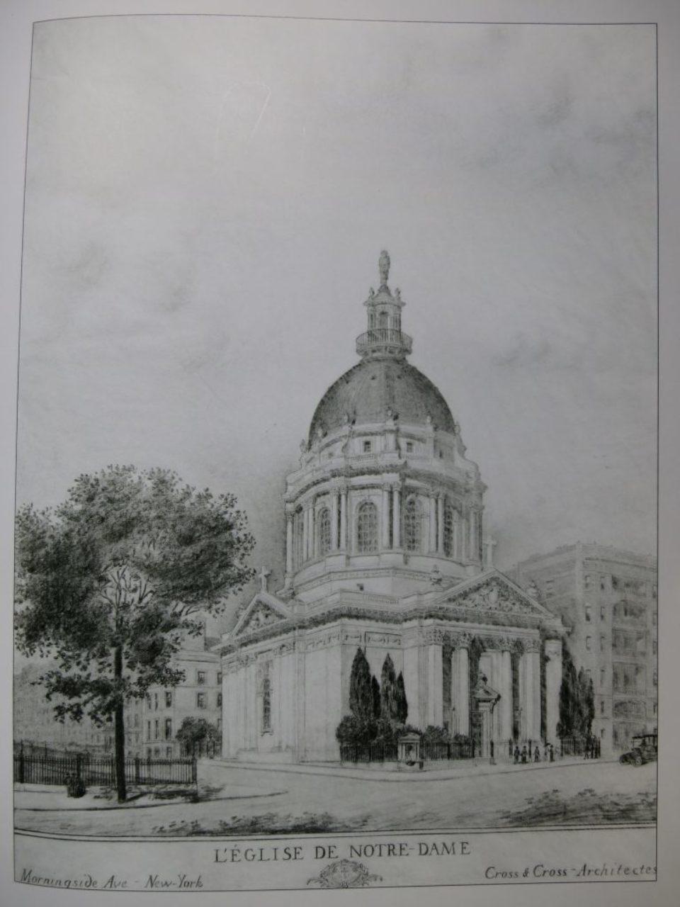 Church of Notre Dame L'Eglise de Notre-Dame, pencil rendering ca. 1910