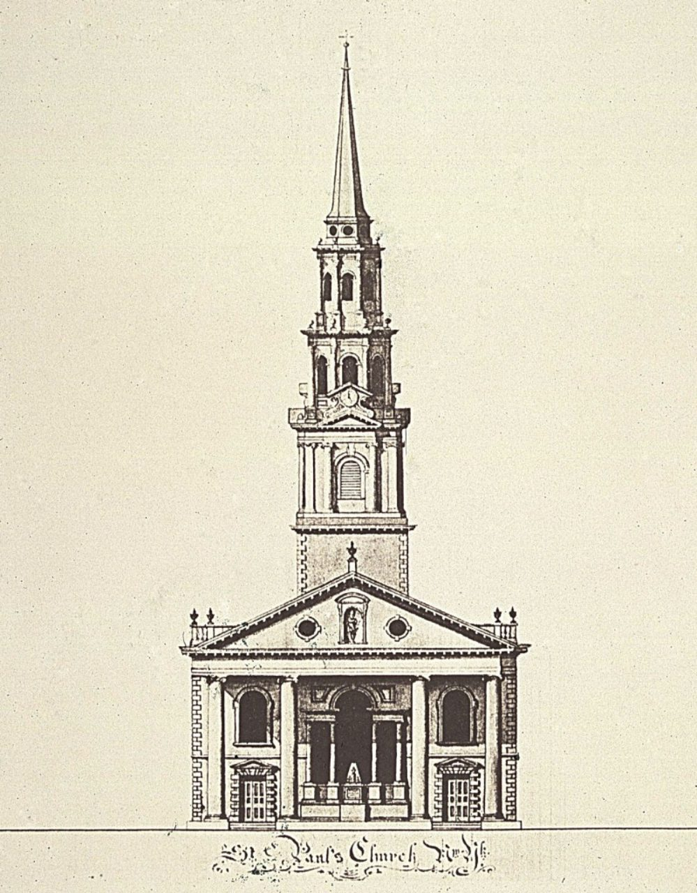 St. Paul's Chapel, Robert Mills: ink and wash on paper