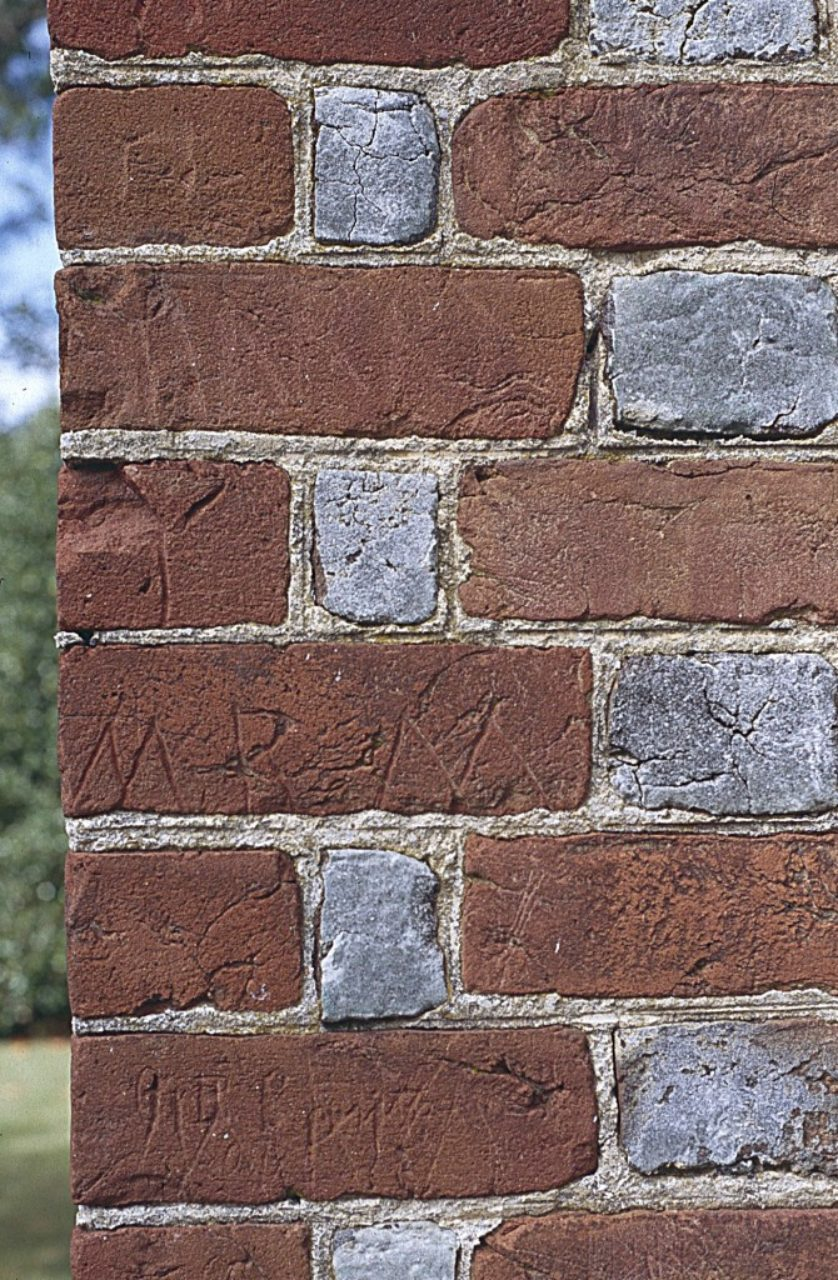 Figure 9: Pungoteague Church, Accomack County, Virginia, detail of west wall (Loth)