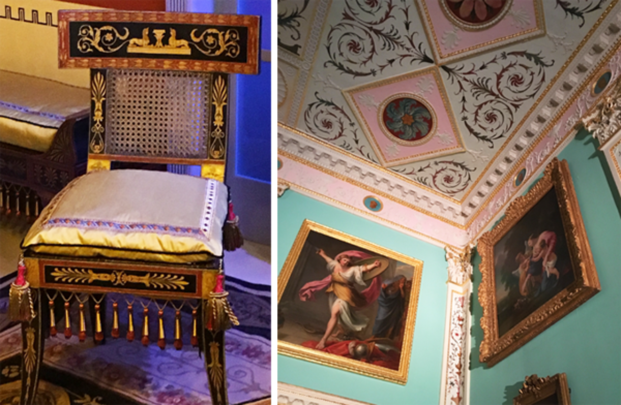 Latrobe furniture on display at the Philadelphia Museum of Art (left) and a stunning Robert Adam ceiling design at Lansdowne House in London (right)