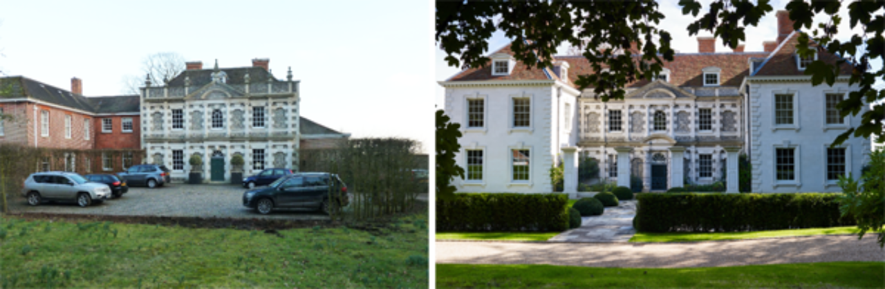 A classical house in Oxfordshire, before renovation by Ben Pentreath (left) and after (right) (Image Source: Ben Pentreath)