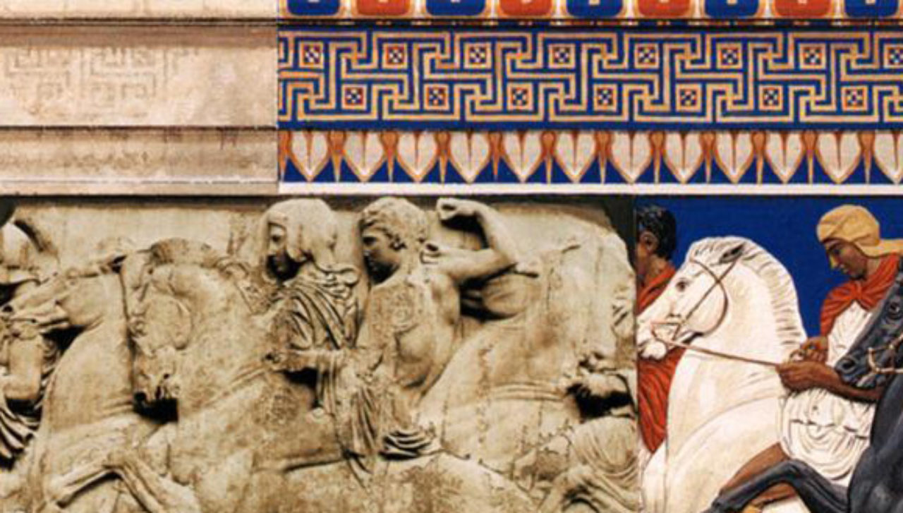 Figure 2: Detail of the conjectural color reconstruction of the Parthenon Panathenaic frieze and fascia (StudyBlue).